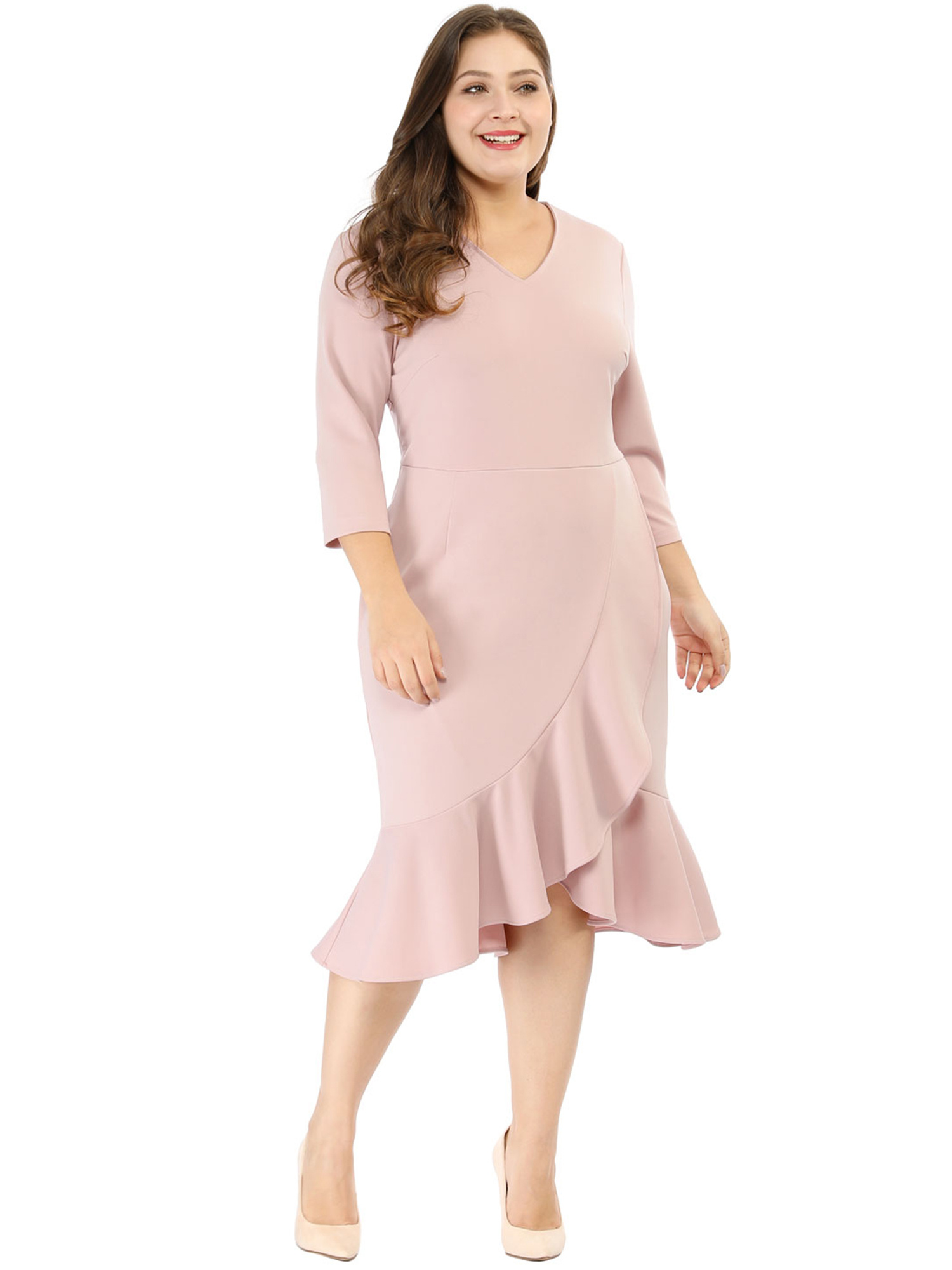 Cocktail V-neck Wrap Midi Dress Pink 2X