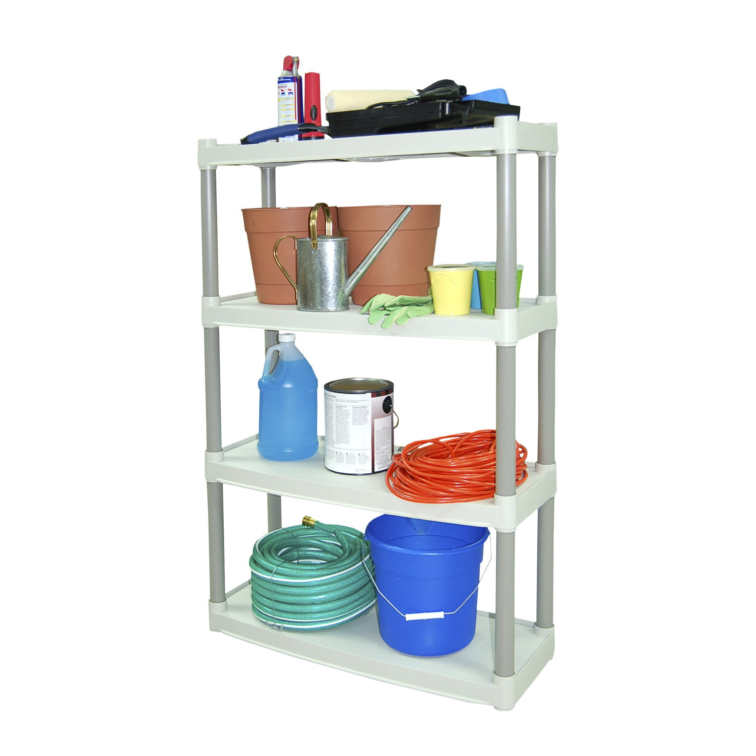 4 shelf heavy duty plastic storage unit light taupe organizer grey garage ebay. Black Bedroom Furniture Sets. Home Design Ideas
