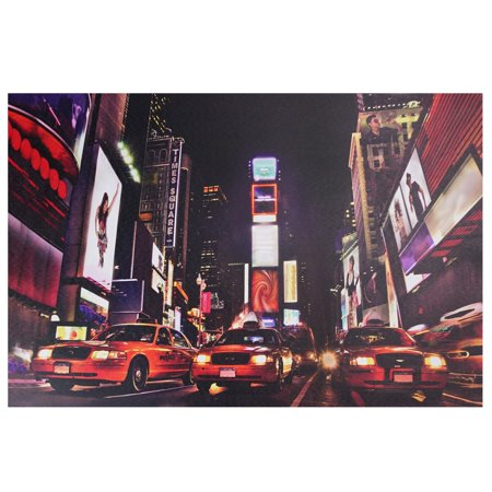 (LED Lighted NYC Times Square Broadway Taxi Cabs Canvas Wall Art 15.75