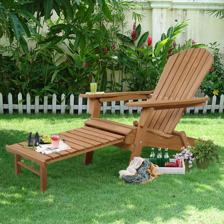 Costway Outdoor Foldable Wood Adirondack Chair Patio Deck Garden w  Pull-out Ottoman by Costway
