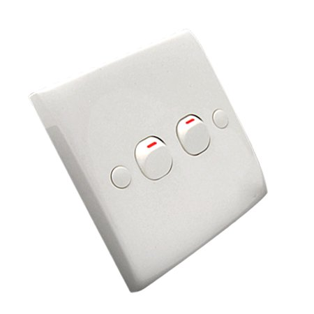 Office Home 2 Button Electric Light Switch Wall Plate 250V - 2 Button Wall