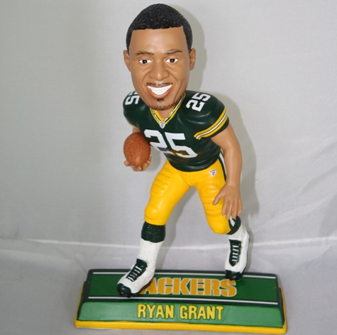 Ryan Grant Green Bay Packers End Zone Bobblehead Figurine