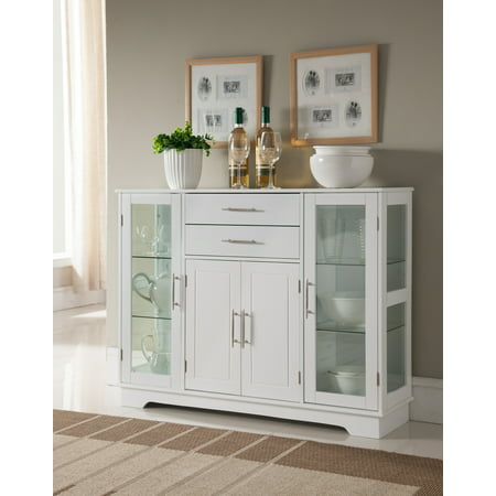 Wood China Cabinet - Elias White Wood Contemporary Kitchen Buffet Display China Cabinet With Storage Drawers & Glass Doors
