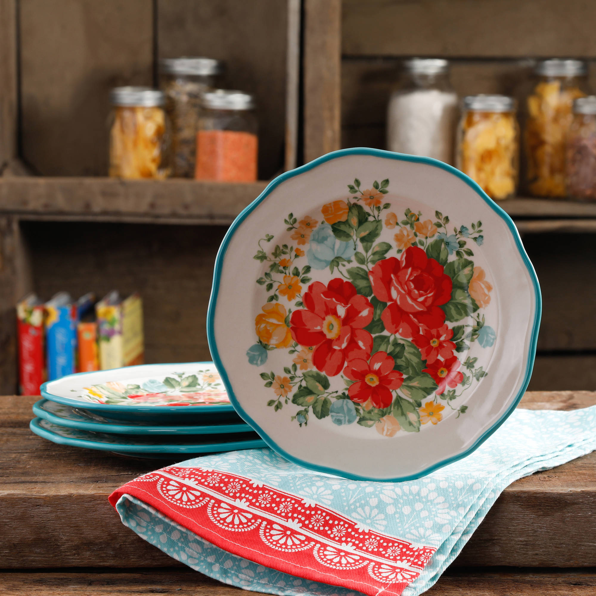 "The Pioneer Woman Vintage Floral 8.5"" Salad Plate Set, Set of 4"