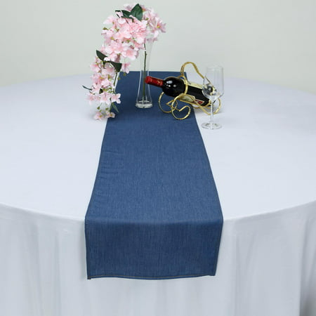 BalsaCircle 14x108-Inch Dark Blue Faux Denim Polyester Table Top Runner - Wedding Linens Reception Catering Wholesale Decorations ()
