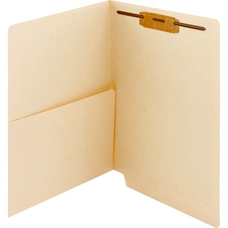 Smead End Tab Pocket Folder with Fastener, Straight-Cut Tab, 1 Pocket, Letter Size, Manila, 50 per Box (34100)