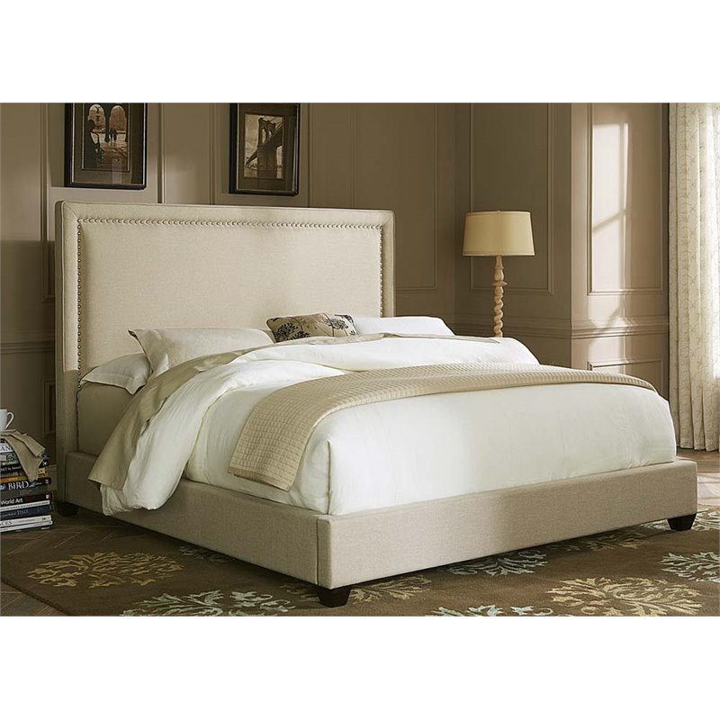 Liberty Furniture Linen Fabric Upholstered Queen Panel Bed in Natural