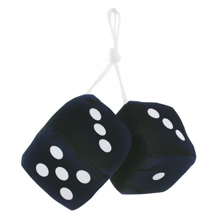 "3"" Fuzzy Dice Black with White Dots by United Pacific"