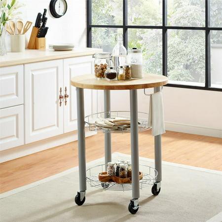 - Dorel Living Lulu Round Kitchen Cart, Gray