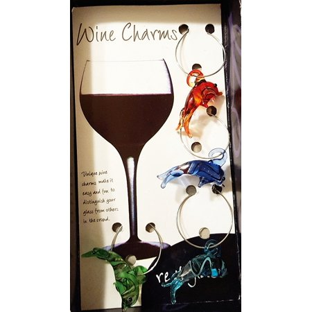 Glass Dolphin Wine Charm Set by India Handicraft, Distinguish your glass from others with this unique set/4 wine charms By handicraft india