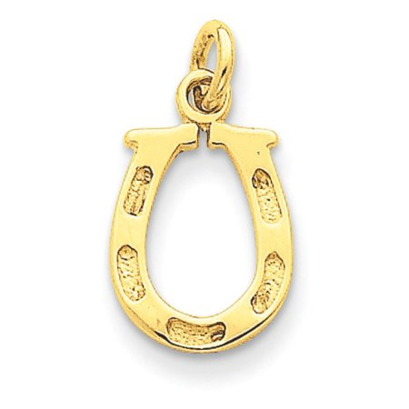 14k Yellow Gold Solid Polished Horseshoe Pendant