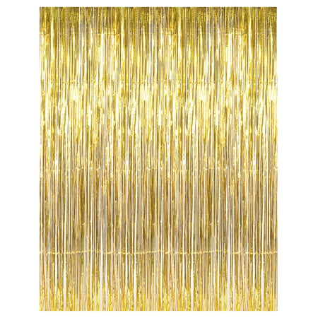 Valentine Window Decorations (3' x 8' Gold Tinsel Foil Fringe Door Window Curtain Party)