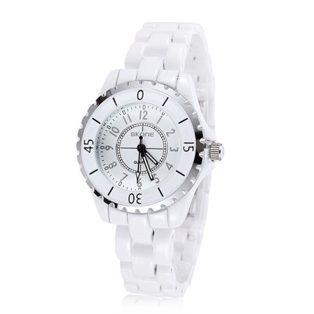 SKONE Gorgeous Elegant Analog Quartz Watch Water Resistant Ceramic Watchband Precise Wristwatch for Women