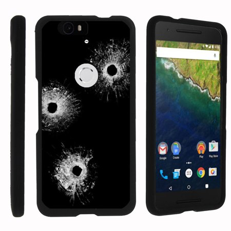 Huawei Google Nexus 6P, [SNAP SHELL][Matte Black] 2 Piece Snap On Rubberized Hard Plastic Cell Phone Case with Exclusive Art - Bullet Holes