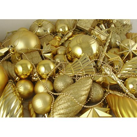 125 Piece Set Of Shatterproof Gold Glamour Christmas