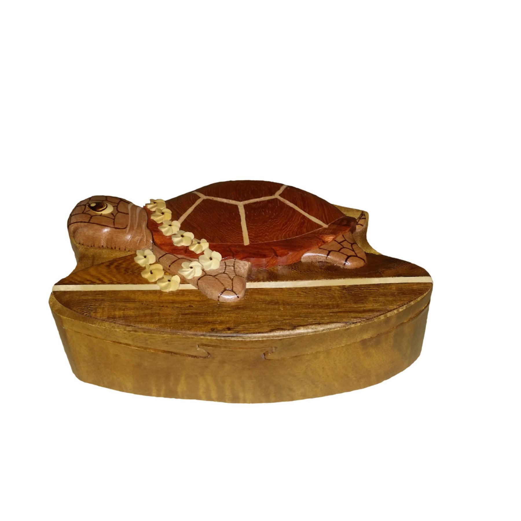 Hawaii Style Wood Keepsake Jewelry Puzzle Box Surfing Tur...