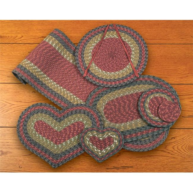 Earth Rugs 60-238 Burgundy-Olive-Charcoal Heart Placemat