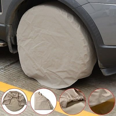 32 inch Universal Set of 4 Wheel Tire Covers for RV Auto Truck Car Auto Black