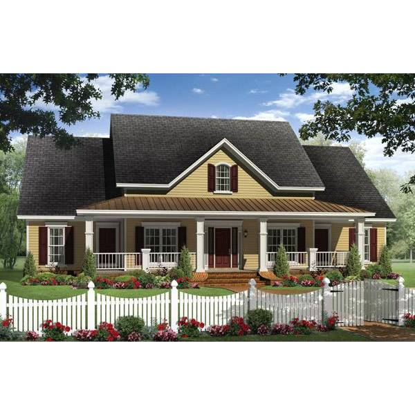 TheHouseDesigners-1028 Modest Farm House Plan with Slab Foundation (5 Printed Sets)