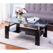 Black Glass Top Cocktail Coffee Table, Rectangle Glass Coffee Table for Home, Modern Side Coffee Table with Lower Shelf, Wooden Legs, Durable Sofa Side Tables Cocktail Living Room Furniture, Q14331