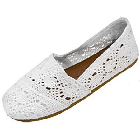 Womens Canvas Crochet Slip on Shoes Flats 5 Colors (7/8, White 3008)