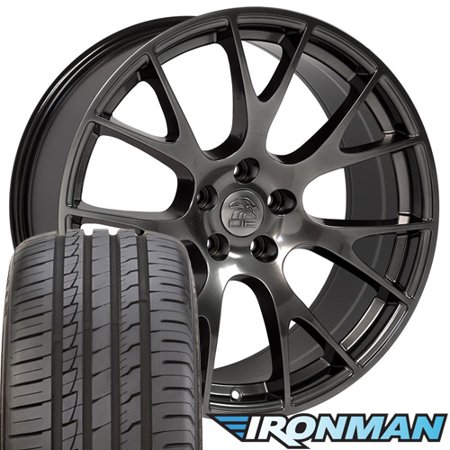 20x9 Wheels, Tires and TPMS Fit Dodge, Chrysler, Challenger, Charger - Hellcat Style Hyper Black Rims w/Tires -
