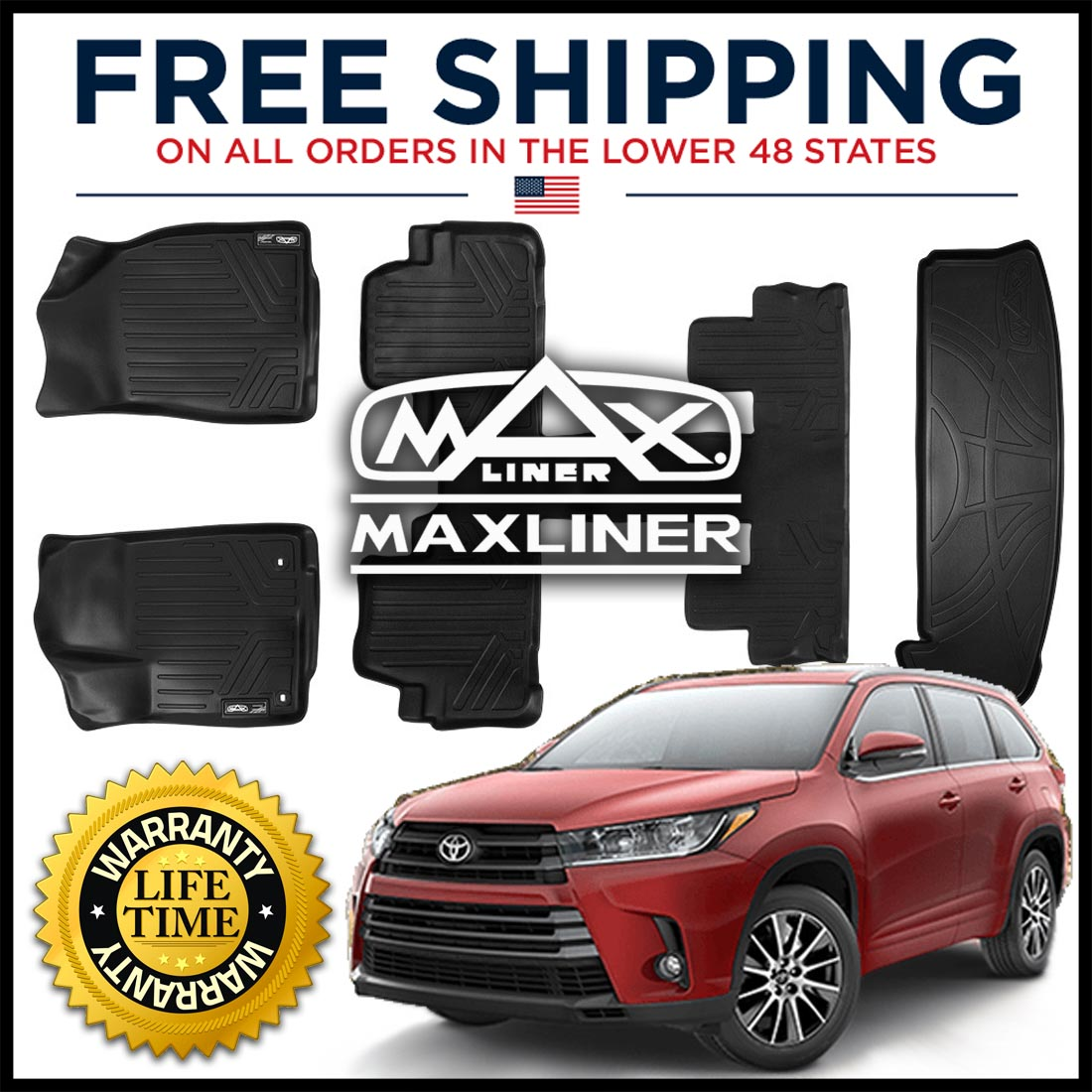 Maxliner USA A0152//B0201 No Hybrid Models SMARTLINER Floor Mats 3 Row Liner Set Black for 2014-2018 Toyota Highlander with 2nd Row Bucket Seats