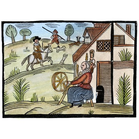 England Daily Life Na Housewife Spins Outside Her Cottage As A Gentleman Goes Hunting For Deer Woodcut English Mid-17Th Century Poster Print by Granger Collection ()