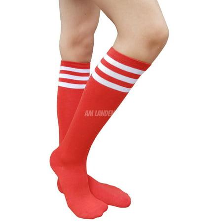 AM Landen Womens Stripe Knee High Socks Stripe Socks Cheerleader Socks Uniform Socks (A. Red/White Stripe)
