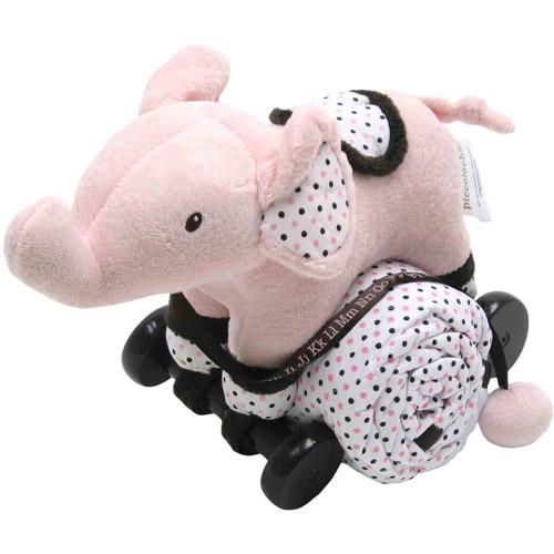 Piccolo Bambino Pull Toy with Quilted Blanket, Pink Elephant