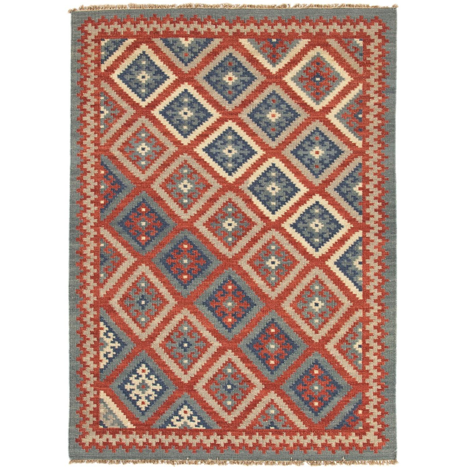 2' x 3' Red, Blue and Gray Flat Weave Ottoman Hand Woven Wool Area Throw Rug