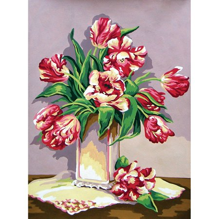 Collection D'Art Needlepoint Printed Tapestry Canvas, 40cm x 50cm, Wild Tulips