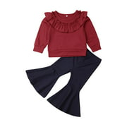 Gueuusu Girl's Two Piece Suit, Ruffled T-Shirt Tops with Bell Bottoms Pants