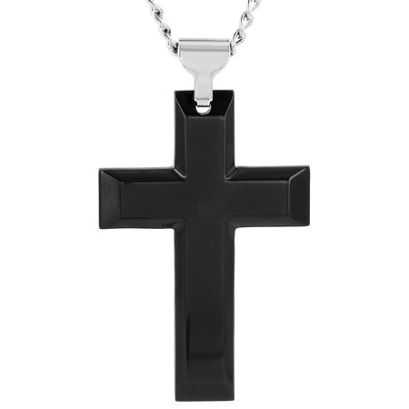 High Polish Black Plated Stainless Steel Cross Pendant
