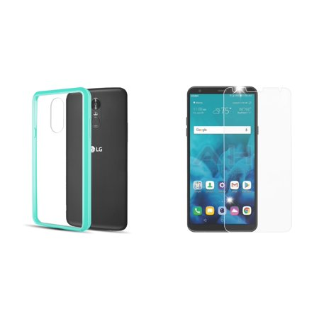 Slim Crystal Clear Hybrid Drop Protection Cover Case (Aqua Teal Green) with Bubble-Free Tempered Glass Screen Protector, Atom Cloth for LG Stylo 4+ Plus/LG Stylo 4 (2018)