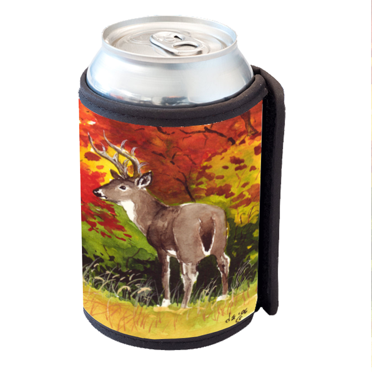 KuzmarK Insulated Drink Can Cooler Hugger - Whitetail Buck in Autumn Art by Denise Every