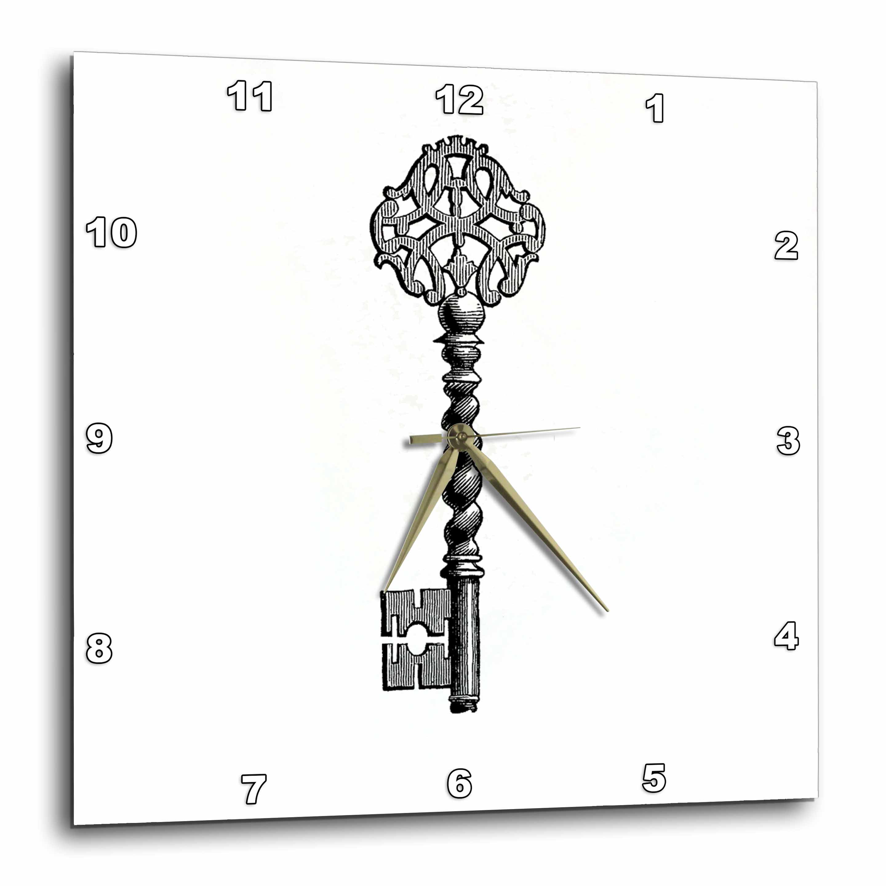 3dRose Black and white old fashioned antique key drawing - vintage gothic victorian skeleton key, Wall Clock, 10 by 10-inch