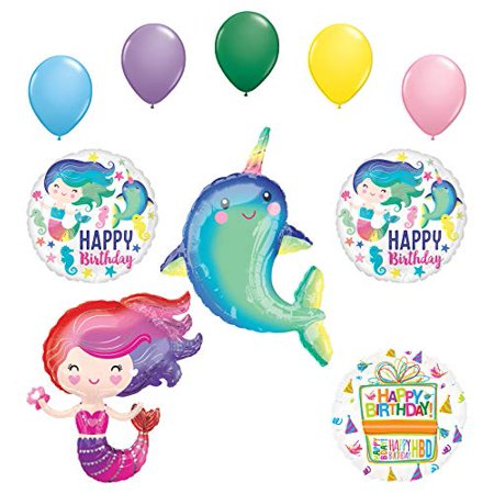 Mayflower Products Narwhal Party Supplies Lovely Mermaid Birthday Balloon Bouquet Decorations - Mermaids Party Supplies