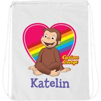 Personalized Curious George Loveable Monkey White Drawstring Bag