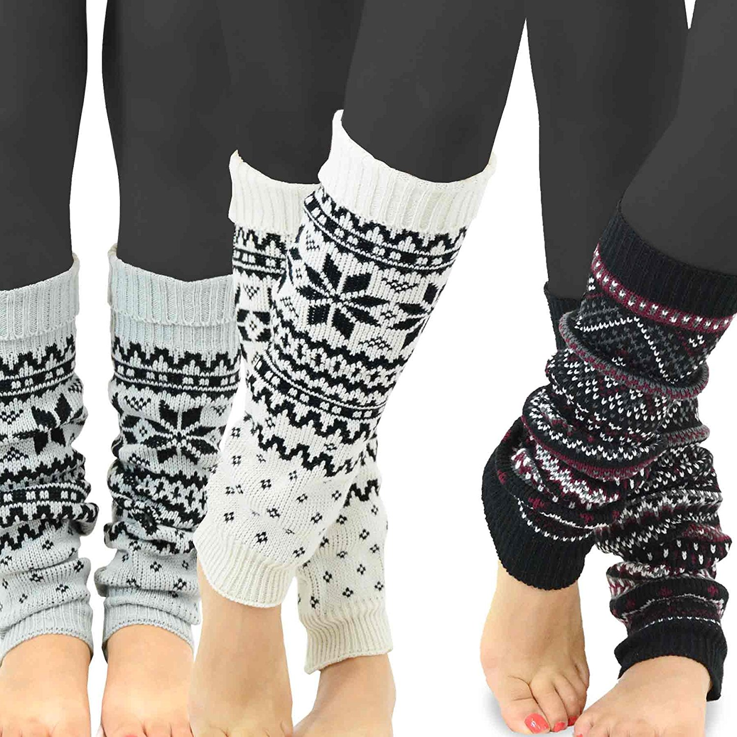 TeeHee Women's Fashion Leg Warmers 3-Pack Assorted Colors