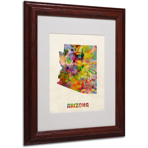 "Trademark Fine Art ""Arizona Map"" Matted Framed Art by Michael Tompsett, Wood Frame"