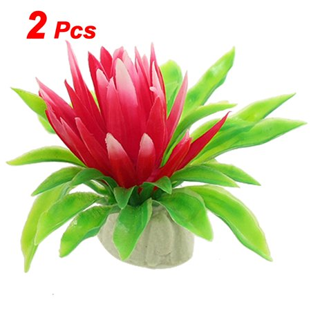 Unique Bargains 2 Pcs Pond Tank Green Leaves Red Water