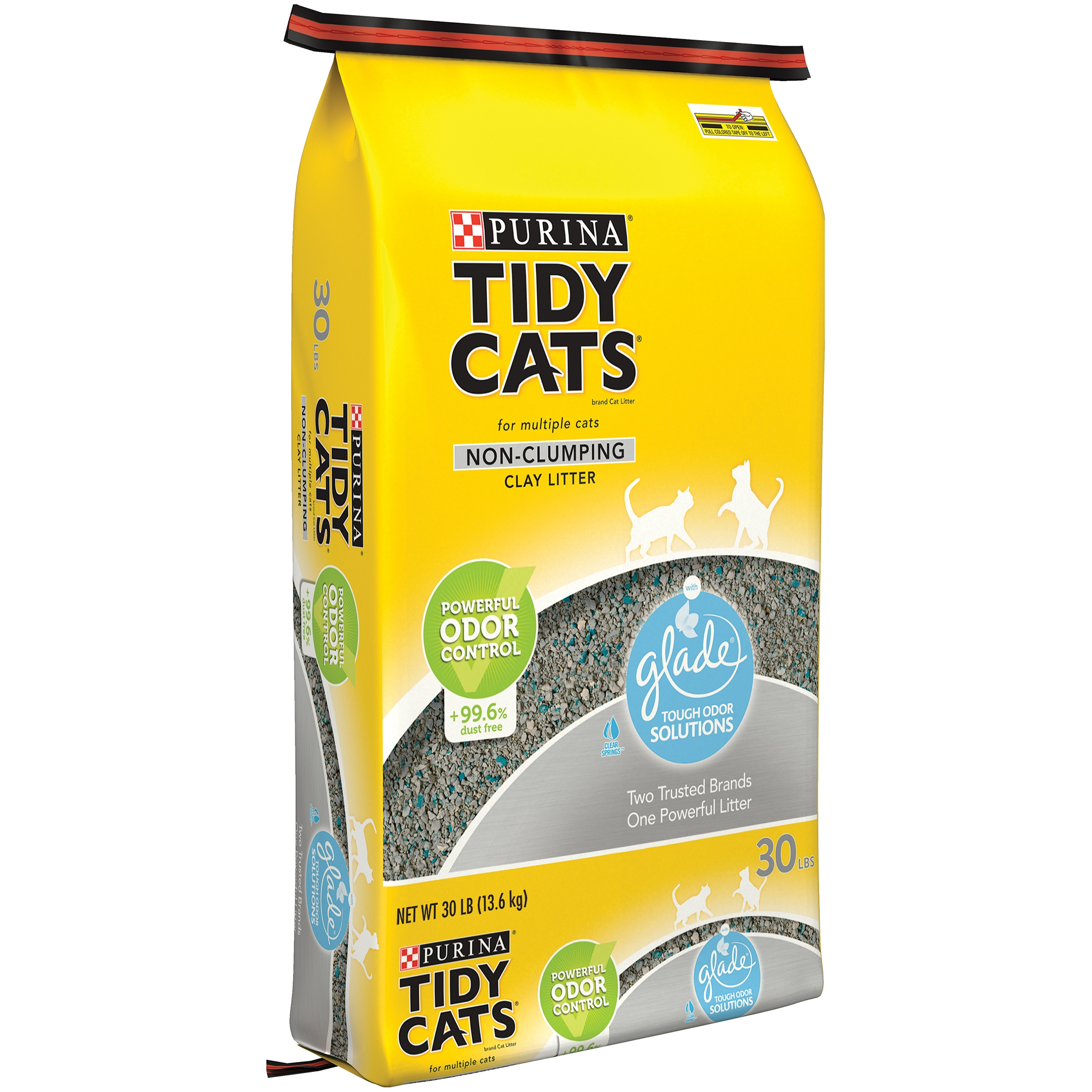 Purina Tidy Cats Glade Tough Odor Solutions Clear Springs Non-Clumping Cat Litter, 30 Lb.