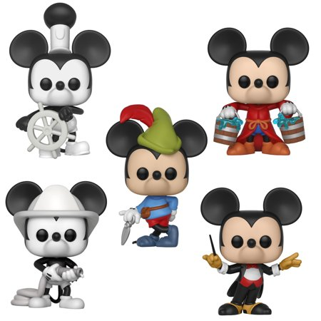 Anniversary Collectors Set - Funko POP! Disney Mickey's 90th Anniversary Collectors Set - Steamboat Willie, Apprentice Mickey, Firefighter Mickey, Conductor Mickey, Brave Little Tailor
