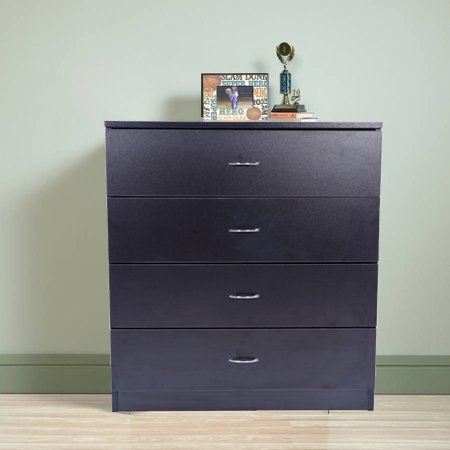 Ktaxon 4 Drawers Dresser Bedside Nightstand Cabinets Bedroom Furniture Black