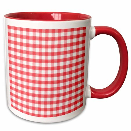 Italian Theme Ideas (3dRose Red and white Gingham pattern - retro checks checkered checked rustic Italian kitchen dining theme - Two Tone Red Mug,)