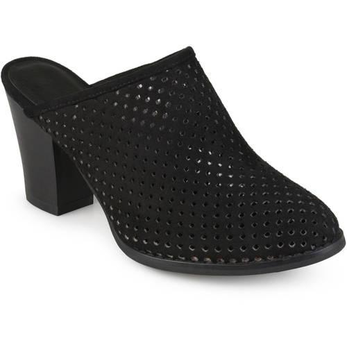 Brinley Co. Womens Slide-on Wood Stacked Heel Laser Cut Faux Suede Mules