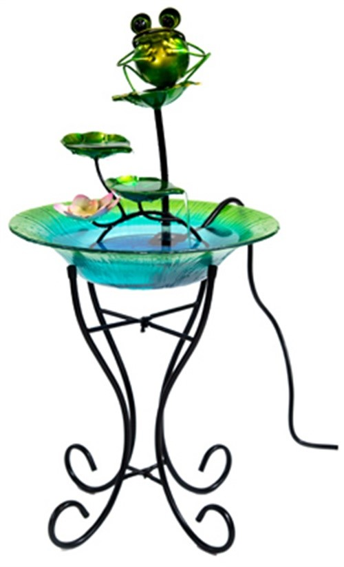ctm giftware bird bath with fountain glassmetal 15in