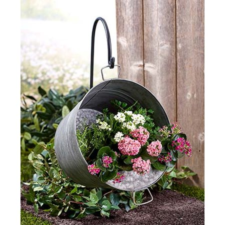 Hanging Pail Planter with Shepherd's Hook Metal Planter Shepherd's Hook Outdoor - Cheap Shepherds Hooks