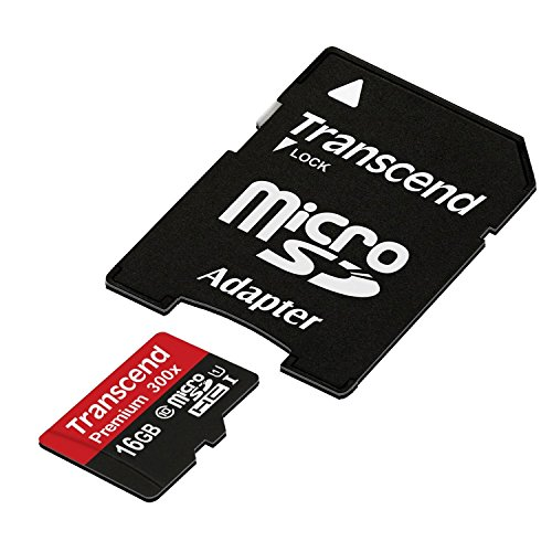 Transcend 16GB MicroSDHC Class10 UHS-1 Memory Card with Adapter 45 MB/s (TS16GUSDU1)